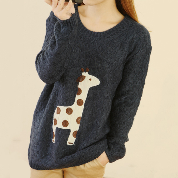 Blue Super Adorable Cartoon Giraffe Loose Pullover Sweater on Luulla