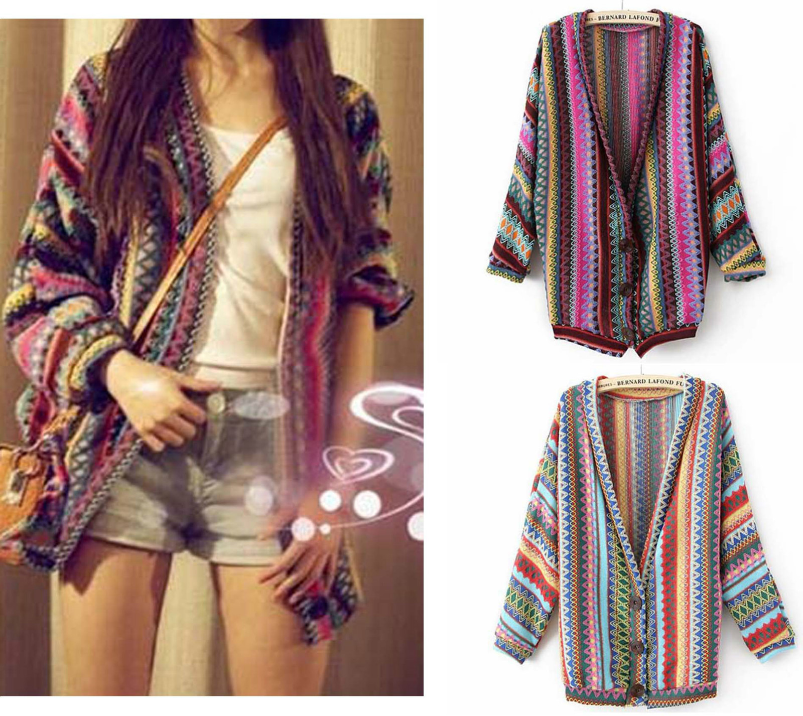 Folk Style Retro Color Mix Striped Knit Cardigan on Luulla